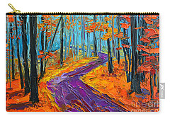 Carry-all Pouch featuring the painting Autumn Forest And Purple Path - Orange Red Foliage - Modern Impressionist Knife Palette by Patricia Awapara