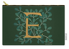 Forest Leaves Letter E Carry-all Pouch