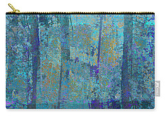 Carry-all Pouch featuring the photograph Forest Morning Light Blue by Suzanne Powers