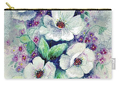 Carry-all Pouch featuring the painting Forget-me-knots And Roses by Hazel Holland