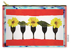 Carry-all Pouch featuring the digital art Forks And Flowers by Paula Ayers