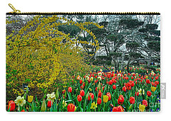 Carry-all Pouch featuring the photograph Forsythia Tulips And Daffadils by Diana Mary Sharpton