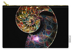 Carry-all Pouch featuring the digital art Fossilized Nautilus Shell by Klara Acel