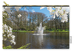 Carry-all Pouch featuring the photograph Fountain In Park by Hans Engbers