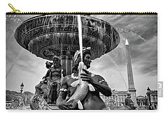 Carry-all Pouch featuring the photograph Fountain On Place De La Concorde - Paris by Barry O Carroll