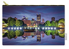 Carry-all Pouch featuring the photograph Fountain Reflections  by Emmanuel Panagiotakis