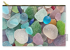 Four Marbles And A Rainbow Of Beach Glass Carry-all Pouch