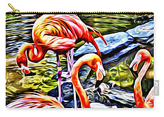 Four Pink Flamingos Carry-all Pouch