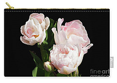 Four Pink Tulips And A Bud On Black Carry-all Pouch