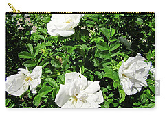 Carry-all Pouch featuring the photograph Four White Roses by Stephanie Moore
