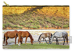 Four Wild Horses Grazing Along Arizona River Carry-all Pouch