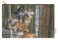 Carry-all Pouch featuring the painting Four Wolves by David Stribbling