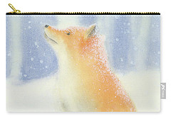 Carry-all Pouch featuring the painting Fox In The Snow by Taylan Apukovska
