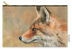 Fox Portrait Carry-all Pouch by David Stribbling