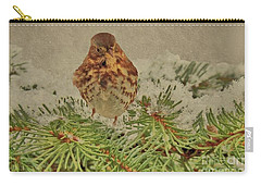 Fox Sparrow In Winter Carry-all Pouch by Janette Boyd
