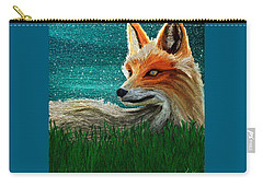 Carry-all Pouch featuring the digital art Foxxy by Iowan Stone-Flowers