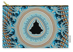 Fractal Art Crochet Style Blue And Gold Carry-all Pouch
