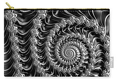 Fractal Spiral Gray Silver Black Steampunk Style Carry-all Pouch by Matthias Hauser