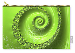 Carry-all Pouch featuring the digital art Fractal Spiral Greenery Color by Matthias Hauser