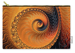 Carry-all Pouch featuring the digital art Fractal Spiral Orange And Brown by Matthias Hauser