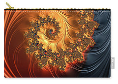 Carry-all Pouch featuring the digital art Fractal Spiral Orange Golden Black by Matthias Hauser