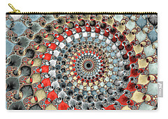 Fractal Spiral Red Grey Light Blue Square Format Carry-all Pouch by Matthias Hauser