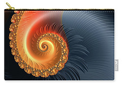 Carry-all Pouch featuring the digital art Fractal Spiral With Warm Orange And Red Tones by Matthias Hauser
