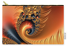Carry-all Pouch featuring the digital art Fractal Spirals With Warm Colors Orange Coral by Matthias Hauser