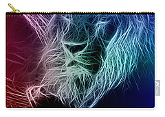 Carry-all Pouch featuring the digital art Fractalius Lion by Zedi
