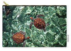 Fragile Underwater World. Sea Turtles In A Crystal Water. Maldives Carry-all Pouch