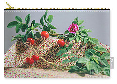 Carry-all Pouch featuring the photograph Fragrant Rugosa Rose With Rosehips And Leaves by Nancy Lee Moran