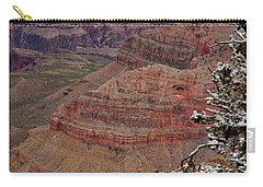 Carry-all Pouch featuring the photograph Framed By A Snow Laden Tree by Debby Pueschel