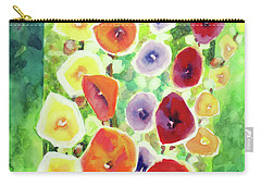 Carry-all Pouch featuring the painting Framed In Hollyhocks by Kathy Braud