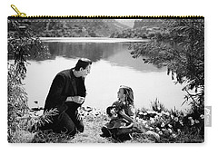 Frankenstein By The Lake With Little Girl Boris Karloff Carry-all Pouch