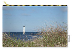 Carry-all Pouch featuring the photograph Frankfort North Breakwater Lighthouse by Fran Riley