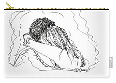 Carry-all Pouch featuring the drawing Free Hugs Bw by Denise Fulmer