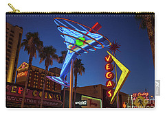 Carry-all Pouch featuring the photograph Freemont East District Neon Signs From The West At Dawn Wide by Aloha Art