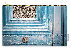 Carry-all Pouch featuring the photograph French Blue - Paris Door by Melanie Alexandra Price