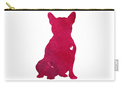 French Bulldog, Abstract Dog Art Print, Kids Wall Decor, Pink Watercolor Painting, Dog Art Print Carry-all Pouch