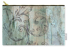 Carry-all Pouch featuring the painting French Country Scroll In Muted Blue by Jocelyn Friis