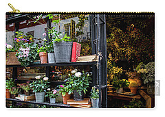 Carry-all Pouch featuring the photograph French Flower Shop by Jean Haynes