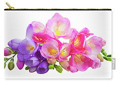 Fresh Pink And Violet Freesia Flowers Carry-all Pouch