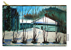 Carry-all Pouch featuring the painting Fresh Snow Double Matted by Charlie Spear