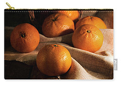 Fresh Tangerines In Brown Basket Carry-all Pouch by Jaroslaw Blaminsky