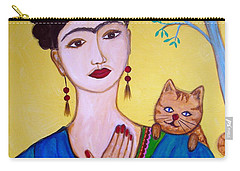 Carry-all Pouch featuring the painting Frida And Her Cat by Pristine Cartera Turkus