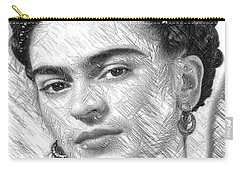 Carry-all Pouch featuring the painting Frida Drawing In Black And White by Rafael Salazar