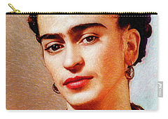 Carry-all Pouch featuring the painting Frida In Red by Rafael Salazar