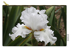 Frilly White Iris Flower Carry-all Pouch