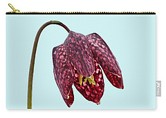 Carry-all Pouch featuring the photograph Fritillaria Meleagris - Blue Background by Paul Gulliver