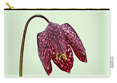 Carry-all Pouch featuring the photograph Fritillaria Meleagris - Green Background by Paul Gulliver